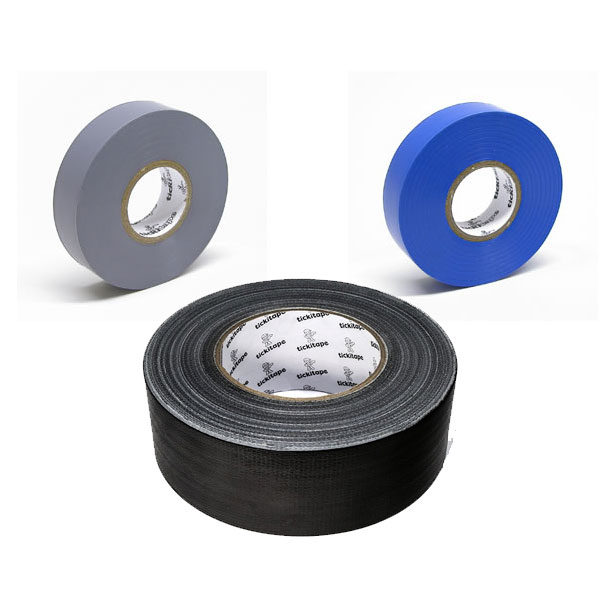 Tickitape tape 50mm black gaffa, 19mm grey pvc, 19mm blue pvc
