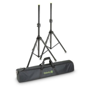 Gravity Speaker Stands Set of two aluminium speaker stands with bags