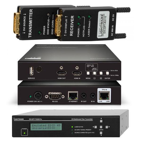 Lightware Transmitters Receivers DVI-OPT-TX220-PRO DVI-OPT-TX110-HDMI TPS-RX120-HDSR