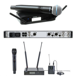 Shure Wireless Microphones - Shure GLXD24 BETA 58, Shure QLX-D Bodypack System With SM35 Headset, Shure Axient AD4DE Dual Receiver