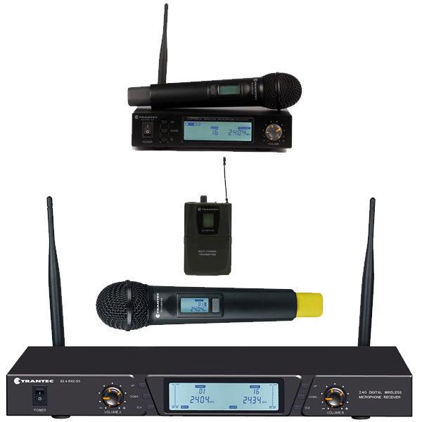 Trantec Wireless Microphones - S2.4-HX Handheld Digital Wireless System, S2.4-HBX Dual Digital Wireless Receiver System