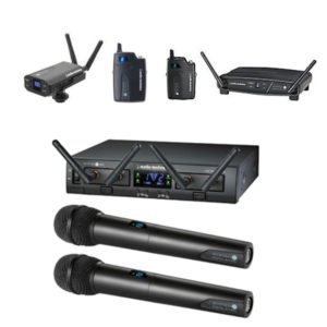 Audio Technica Wireless Microphones - System 10 Digital Beltpack Wireless System, ATW-1322 Pro Rack, Dual Channel Handheld System, ATW1701 Camera Mount Receiver With Beltpack Transmitter